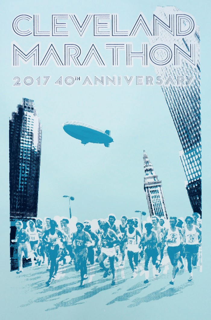 '2017 Cleveland Marathon' Poster, 12.5''x19'', Screen Print on Sno-Cone Blue, 2017