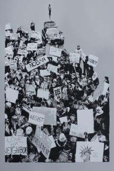 'Airport Rally (Travel Ban, 01.29.2017)', 20''x30'', Screenprint on Steel Grey, 2017