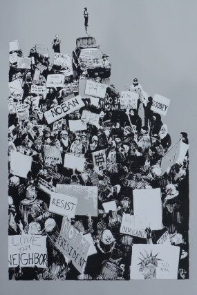 'Airport Rally (Travel Ban, 01.29.2017)', 20''x30'', Screenprint on Steel Grey, 2017