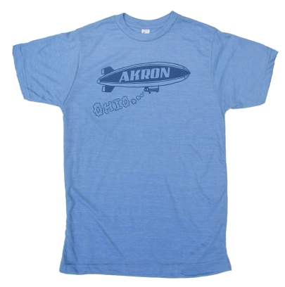 'Akron Blimp' in Blue on Athletic Blue Tees