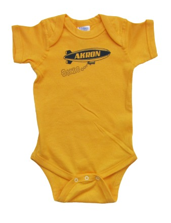 'Akron Blimp' in Blue on Gold Onesie