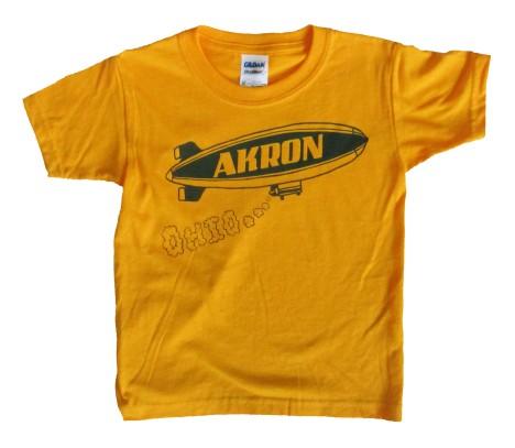 'Akron Blimp' in Blue on Gold Toddler Tee