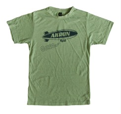 'Akron Blimp' in Blue on Heather Green Unisex Tee