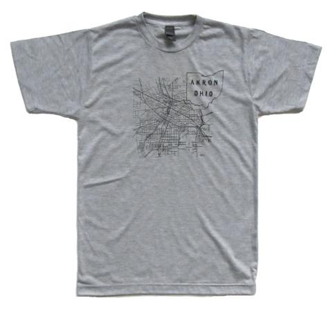 'Akron Map' in Black on Heather Grey Unisex Tee
