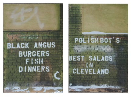 'Best Salads In Cleveland (Diptych, Both Panels)', 16''x24'' each, Acrylic, Spraypaint, Screen Print, 2016