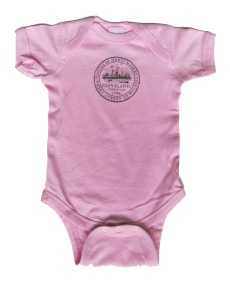 'City Seal' in Dark Gray Shimmer on Powder Pink Onesie