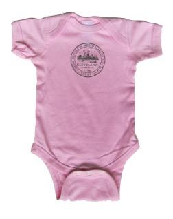 'City Seal' in Dark Gray Shimmer on Powder Pink Onesie