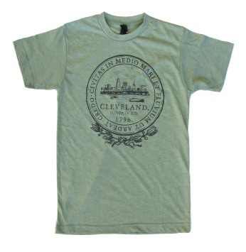 'City Seal' in Shimmer Black on Heather Green Unisex Tee