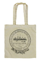 'City Seal' in Shimmer Black on Natural Canvas Tote