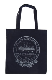 'City Seal' in Shimmer White on Navy Tote