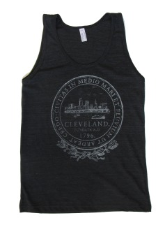 'City Seal' in Shimmer White on Tri-Black American Apparel Tank