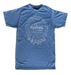 'City Seal' in White on Athletic Blue Unisex Tee