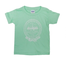 'City Seal' in White on Mint Green Toddler Tee