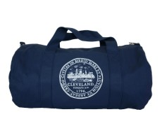 'City Seal' Navy Duffel Bag (white backrground)