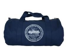 'City Seal' Navy Duffel Bag (white backrground)