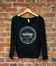 'City Seal' on Black Flowy Off Shoulder Top