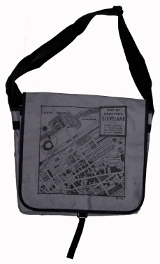 'CLE Downtown Map' in Black on Grey Messenger Bag