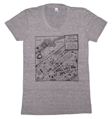 'CLE Downtown Map' in Black on Heather Grey American Apparel Ladies Track Tee