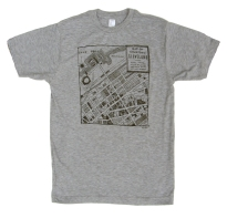 'CLE Downtown Map' in Black on Heather Grey Unisex Tee