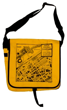 'CLE Downtown Map' in Black on Yellow Messenger Bag