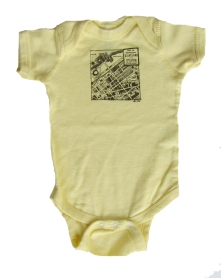 'CLE Downtown Map' in Brown on Banana Yellow Onesie