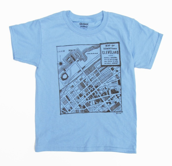 'CLE Downtown Map' in Brown on Light Blue Youth Tee.jpg