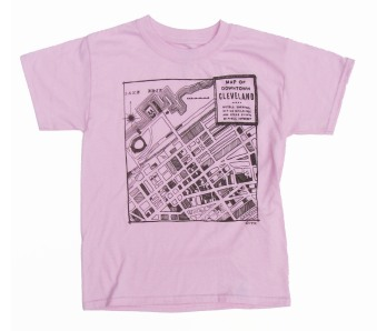 'CLE Downtown Map' in Brown on Light Pink Youth Tee