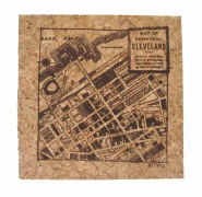 'CLE Downtown Map' in Brown on Natural 4'' x 4'' Cork Coasters