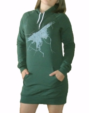 'Cleveland 1904 Map (Halftone Lake)' in Black and White on Forest Green Hoody Dress (Full Crop)