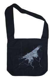 'Cleveland 1904 Map (Halftone Lake)' in Black and White on Navy Blue Sling Bag