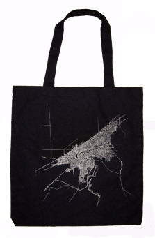 'Cleveland 1904 Map (Halftone Lake)' in Black and White on Navy Blue Tote