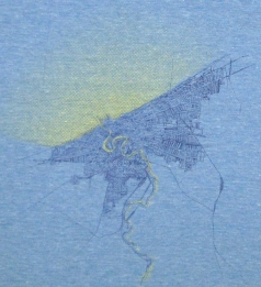 'Cleveland 1904 Map (Halftone Lake)' in Yellow and Purple on Athletic Blue Jersey Scarf (Detail)