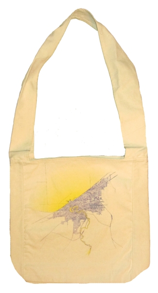'Cleveland 1904 Map (Halftone Lake)' in Yellow and Purple on Natural Sling Bag