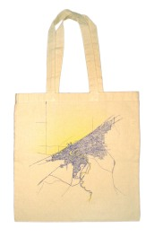 'Cleveland 1904 Map (Halftone Lake)' in Yellow and Purple on Natural Tote