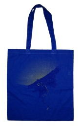 'Cleveland 1904 Map (Halftone Lake)' in Yellow and Purple on Royal Blue Tote