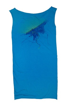 'Cleveland 1904 Map (Halftone Lake)' in Yellow and Purple on Teal T Dress
