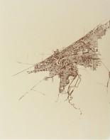 'Cleveland 1904 Map (Halftone Lake)', Screenprint in Tan and Brown on Tan Stonehenge, 11'' x 14'', 2013
