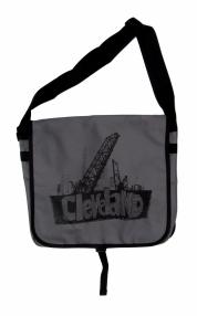 'Cleveland Bridges' in Black on Grey Messenger Bag
