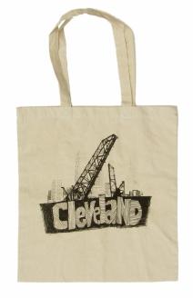 'Cleveland Bridges' in Black on Natural Tote