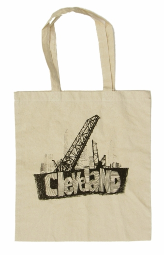 'Cleveland Bridges' in Black on Natural Tote