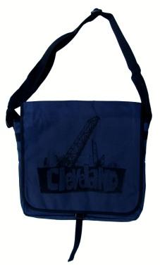 'Cleveland Bridges' in Black on Navy Messenger Bag
