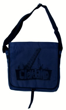'Cleveland Bridges' in Black on Navy Messenger Bag