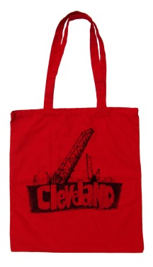 'Cleveland Bridges' in Black on Red Tote