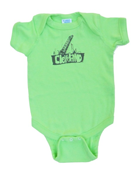 'Cleveland Bridges' in Pearly Gray on Key Lime Green Rabbit Skins Onesie