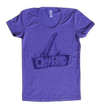 'Cleveland Bridges' in Purple on Orchid Purple Ladies Track Tee
