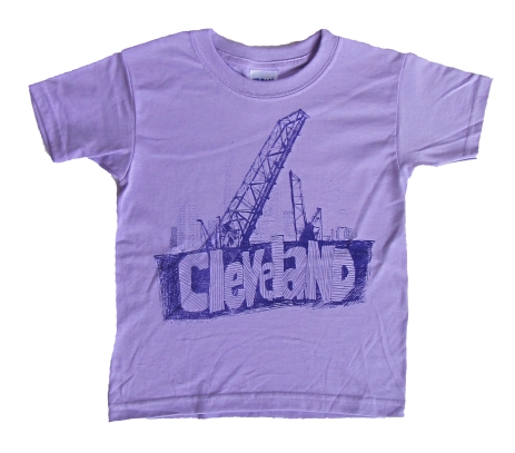 'Cleveland Bridges' in Purple on Orchid Purple Youth Tees
