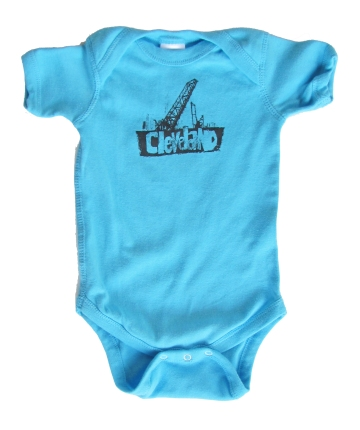 'Cleveland Bridges' in Steel Grey on Aqua Blue Onesie