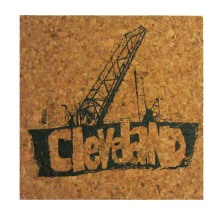 'Cleveland Bridges' in Steel Grey on Natural 4'' x 4'' Cork Coasters