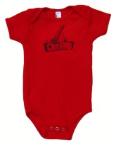 'Cleveland Bridges' in Steel Grey on Red American Apparel Onesie