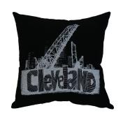 'Cleveland Bridges' in White on Black Pillow